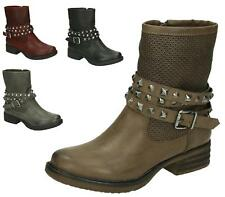 LADIES STUDS FLAT LOW HEEL ZIP ARMY MILITARY COMBAT BIKER ANKLE BOOTS SIZE