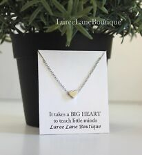 heart necklace- teacher necklace- teacher gift- heart pendant- tiny heart