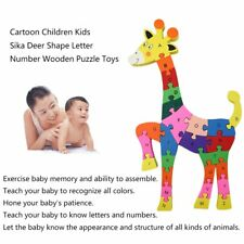 Cute Cartoon Children Kids Sika Deer Shape Letter Number Wooden Puzzle Toys AQ00