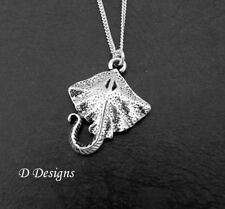 Stingray Necklace, Sterling Silver Manta Ray Pendant