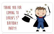 PERSONALISED STICKERS LABELS BIRTHDAY PARTY BAG ADDRESS MAGICIAN MAGIC