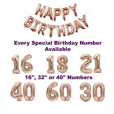 Rose Gold Happy Birthday Balloons   1st 18th 21st 30th 40th Rose Gold Decoration