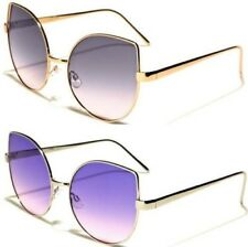 SUNGLASSES LADIES WOMENS DESIGNER METAL FLAT LENS OCEANIC MIRROR CAT EYE RETRO