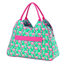 PERSONALIZED MONOGRAMMED PINK FLAMINGO BEACH BAG, LUNCH TOTE, ZIP POUCH or TOWEL