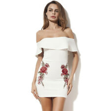 Euro Fashion Sexy Boat Neck Flounced Embroidery Wrap Dress For Woman