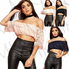 Women's Crop Lace Off Shoulder Crochet Gypsy Boobtube Bandeau Boho Top Short Top