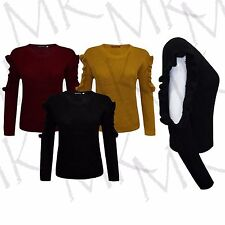 Womens Frill Cut Out Designer Long Sleeve Ladies Knitted Jumper Top Size UK 8-14
