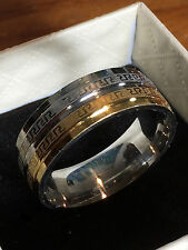 men's wedding band 925 sterling silver filled and 18ct gold filled unisex ring