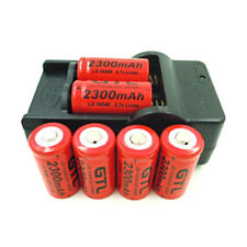 RECHARGEABLE 3.7V 2300mAh Li-ion CR123 16340 GTL Batteries & BATTERY CHARGER