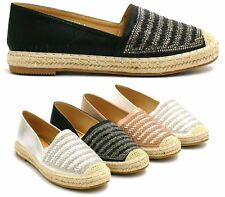 Ladies Womens Flats Slip On Diamante Espadrilles Casual Sandals Pumps Shoes Size