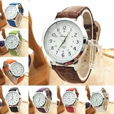 Ladies Silver Gerryda Quartz White Faced Leather Band Wrist Watch(Aussie Seller)