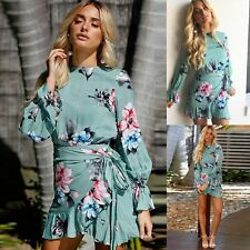 Women Evening Dresses Long Sleeve Floral Wrap Frill Crew Neck Fitted Mini Dress