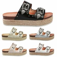 Gianna Womens Flats Low Heel Flatforms Slip On Footbed Sandals Ladies Shoes Size