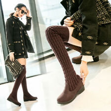 Women Boots Winter Autumn Fashion Mid Heel Over The Knee Suede Long Shoes