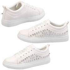 Rhiannon Womens Flats Low Heels Satin Ribbon Lace Up Trainers Ladies Shoes Size