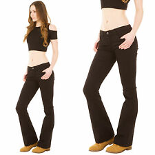 New Ladies Womens Black Low Rise Hipster Bootcut Flared Stretch Jeans Flares