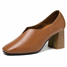 Girls Womens Faux Leather Round Toe Block Heel Ballet Loafers Shoes Pumps