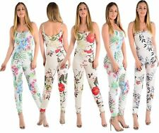 Ladies Sleeveles Strappy Womens Floral Summer Leaf Print Cami Jumpsuit size 8-14