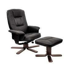 NEW PU Leather Lounge Office Recliner Chair Ottoman Black