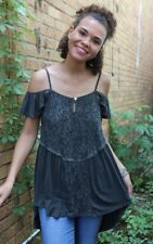 NEW POL Clothing Boho Chic Gypsy Hippy Gigi Top Black Size S-L