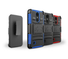 For Metro Pcs LG Aristo 2 Hybrid Kickstand Hard TPU Cover Case With Belt Clip