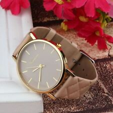 Classy watches women Checkers Faux lady Casual Leather quartz-watch Analog wrist