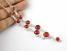 "Natural Red Onyx 5-9mm Round Cabochon 925 Sterling Silver 20"" Long Party Wear"