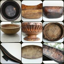 Primitive Antique Wooden Trencher Dough Bowl Rustic Hewn Carved Wood Chapati Old