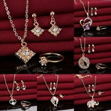 Heart Love Crystal Rhinestone Necklace Earrings Ring Wedding Party Jewelry Set
