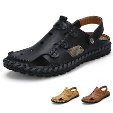 New Men Outdoor Cow Leather Closed Toe Sandals Summer Casual Shoes Sandal Shoes