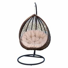 Abbyson Carmen Outdoor Wicker Swing Chair with Stand and Cushion
