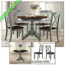 Dining Room Sets Round Tables Maddox Chairs kitchen Wood Country Table Set, Blue
