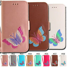 PU Leather Card Slot Embossed Stand Butterfly Case Wallet Cover For Apple iPhone