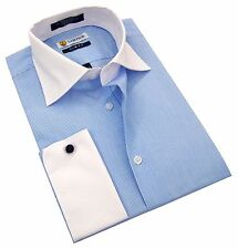Labiyeur Slim Fit Blue White Pinstripe Contrasted Collar French Cuff Dress Shirt