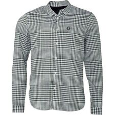 NEW Mens FRED PERRY Long Sleeve Gingham Shirt Distorted Willow S, M