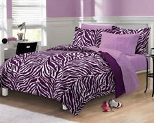 Zebra Printed Comforter Sheet Set Purple Ultra Soft Microfiber Elegant Bedroom