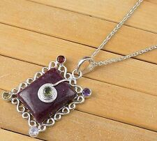Natural Ruby Cabochon 18x22mm Rectangle Gemstone 925 Sterling Silver Pendant