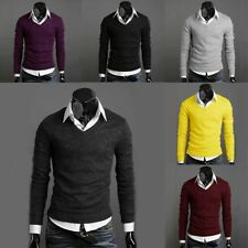 MENS SWEATER CASUAL SLIM FIT V-NECK KNITTED CARDIGAN PULLOVER JUMPER TOPS US