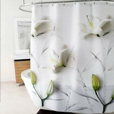 Sweet Home Collection 3D Lilies Floral Fabric Shower Curtain White - Splash