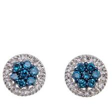 0.40ctw Colored and White Diamond Sterling Silver Stud Earrings