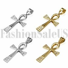 Men Womens Stainless Steel Gold Silver Tone Egyptian Ankh Cross Pendant Necklace
