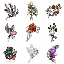Fashion Retro Pearl Flower Branches Feather Crystal Brooch Pin Lady Jewelry Gift