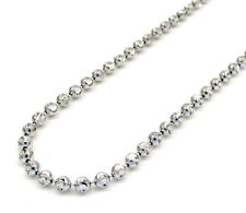 "Real 14K White Gold Diamond Cut Moon Cut Bead Ball Chain Necklace 16""-22"" Inches"