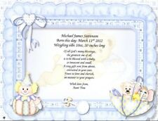 Personalized Infant Birth Announcement for Boy or Girl Parents Grandparents Gift