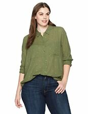 Lucky Brand Women's Plus Size Lucky You Shirt, Dark Olive