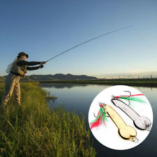 1 Pcs Spoon Fishing Lure 5g-20g Gold/Silver With Feather Hooks Metal Bait Tackle