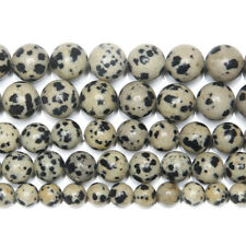 5 Strand White Dalmatian Jasper Smooth Round Ball Gemstone Loose Spacer Bead 15""