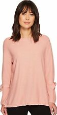 Two by Vince Camuto Womens Long Sleeve Texture Stitch Tie Sleeve Sweater, Light