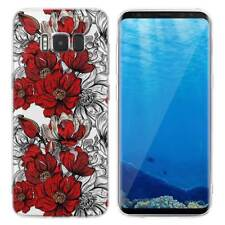 Case Cover For Samsung Galaxy S6 S7 Edge S8 S9 Plus Red Flowery Roses Plants