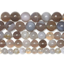 5 Strand Lace Botswana Agate Smooth Round Ball Gemstone Loose Spacer Beads 15""